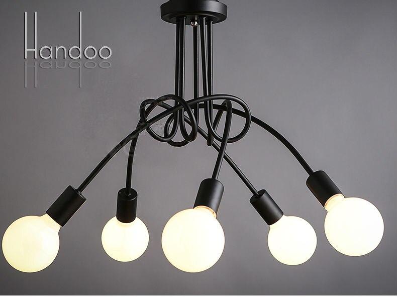 Подвесной светильник E27, с 5 головками, черного и белого цвета, 80 см х 40 см
