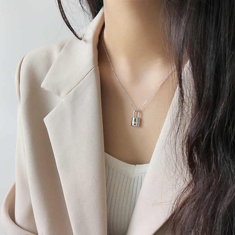 リアル 925 スターリングシルバーネックレス女性のための 2019 ロックペンダントネックレス女性のチェーンネックレスの cadenas · デ · プラタ 925 mujer