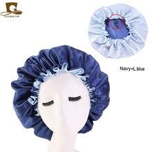 Bonnet de couchage en Satin, réversible, à la mode, Double couche, taille ajustable, Bonnet de nuit pour femmes, Bonnet soyeux, couvre-tête
