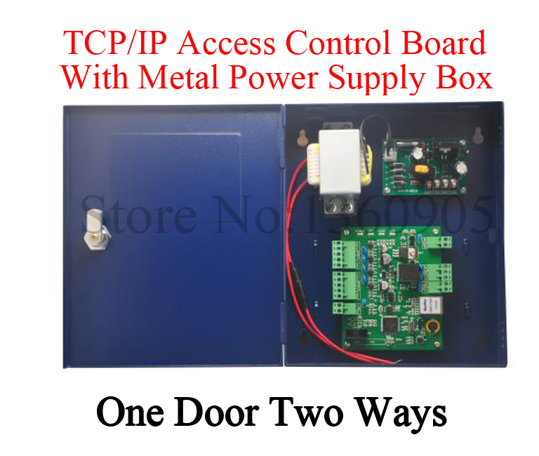 TCP/IP One Door Two Way Access Control Board With Metal Power Supply Box Free English Software