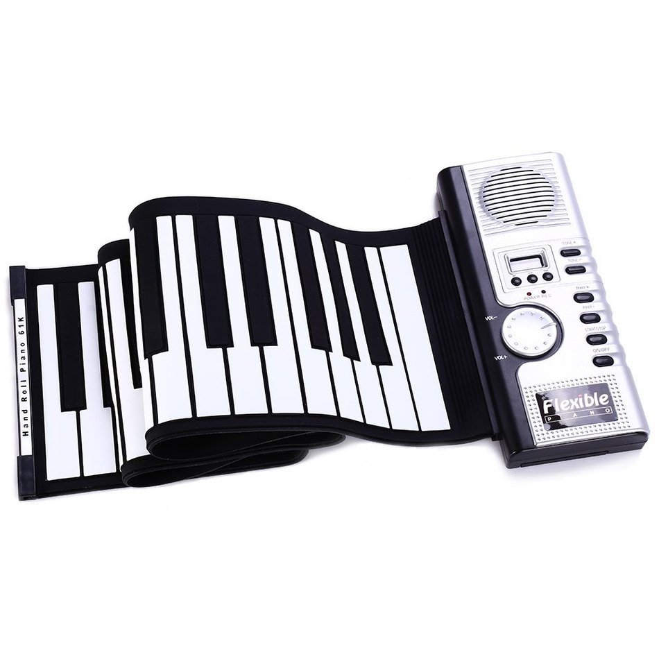 2018 New Portable Flexible 61 Keys Silicone MIDI Digital Soft Keyboard Piano Flexible Electronic Roll Up Piano