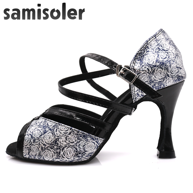 Samisoler Glitter Cut-Outs shoes woman latin dance shoes tango jazz dance shoes salsa Ballroom Fashion shoes dance 5CM-10CM(China)