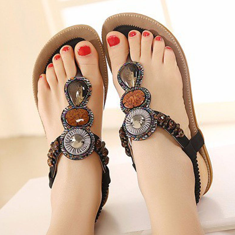 Slip-On Summer Women Sandals Shoes Bohemia Ladies Sandals Casual Bead Female shoes Women Flats Beach Sandal Women Footwear ATA01 women sandals 2017 summer shoes woman flips flops gladiator wedges bohemia fashion rivet platform female ladies casual shoes