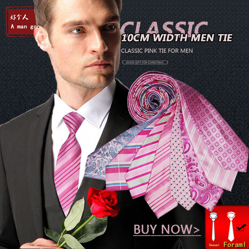 Pink Tie For Men Male Suit Pure Silk Necktie 10cm Wide Fashion Jacquard Woven Formal Wear Business Gift For Wedding Party New