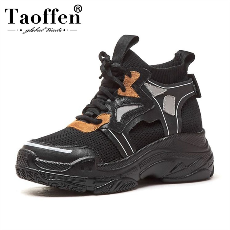 Taoffen Sneakers Women Real Leather Lace Up Casual Shoes Thick Sole Platform Mesh Breathable Vulcanized Shoes Women Size 34-39Taoffen Sneakers Women Real Leather Lace Up Casual Shoes Thick Sole Platform Mesh Breathable Vulcanized Shoes Women Size 34-39
