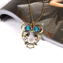 free shipping Fashion lovely vintage Colorful Cute OWL necklace