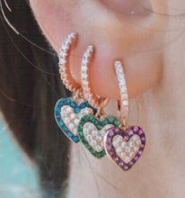 European Heart 925 Silver Earrings red blue Turquoise Geometric Dangle Earrings For Women 2019 Fashion Jewelry Accessories Gifts