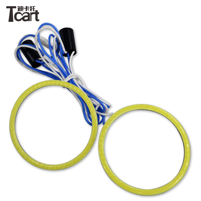 Tcart 100mm Dual color angel eyes ring cob light led cob angel eye driver white&yellow /blue &yellow for headlight foglight