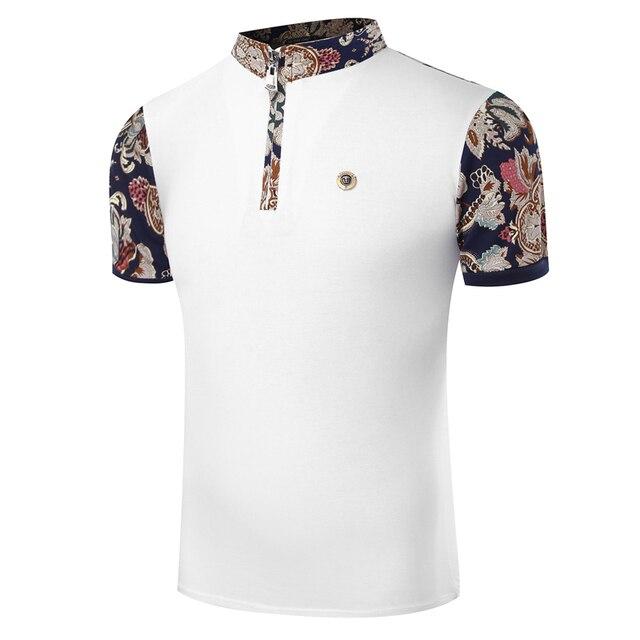 2017 nuevos hombres del verano camisa de polo moda flor imprimir patchwork polo homme camisa slim fit de manga corta polo de los hombres remata camisetas