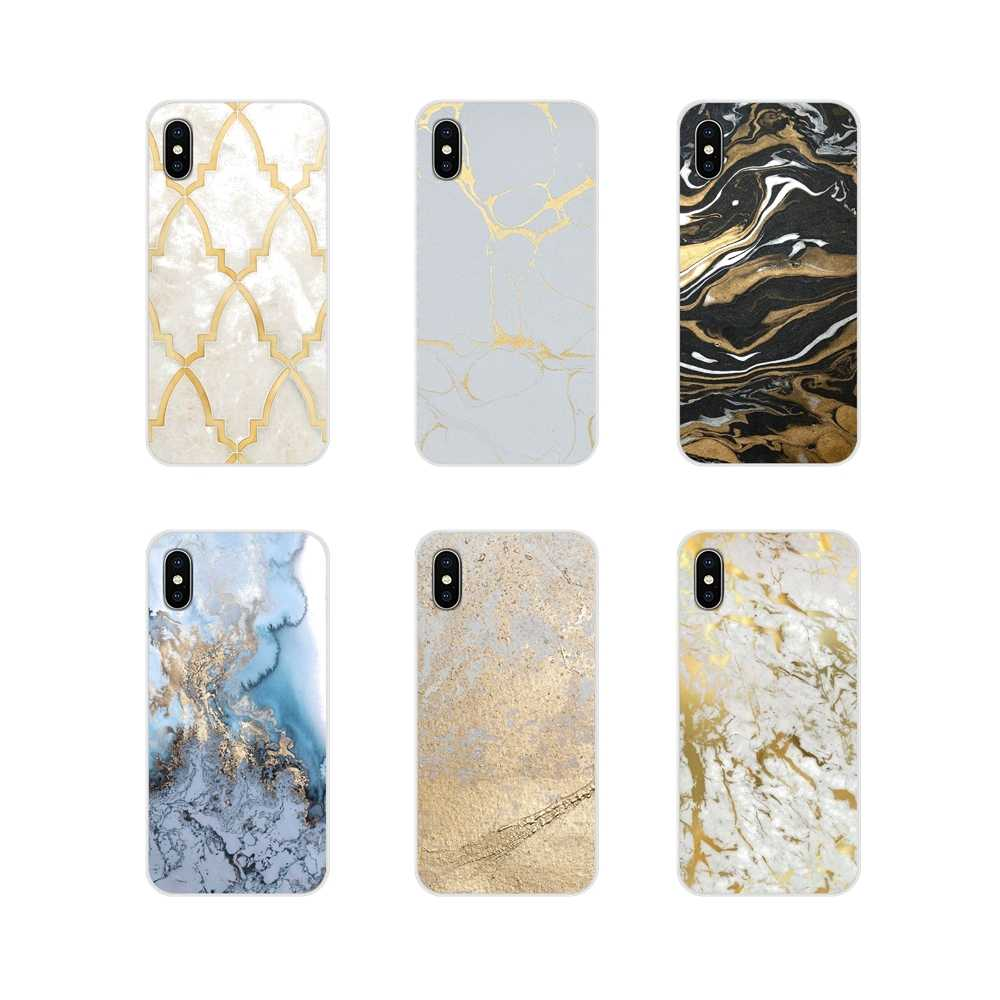 Accessoires Telefoon Shell Covers Voor Apple iPhone X XR XS MAX 4 4 S 5 5 S 5C SE 6 6 S 7 8 Plus ipod touch 5 6 Goud Marmer