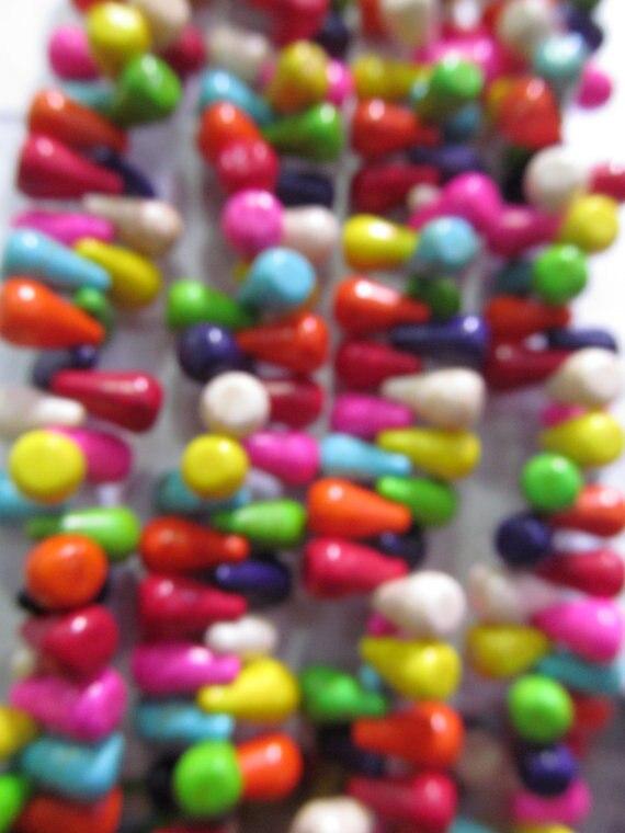 2 brins 8x12mm magnifique turquoise pierre goutte cube cubique arc-en-ciel bijoux perles, turquoise earrigns perles