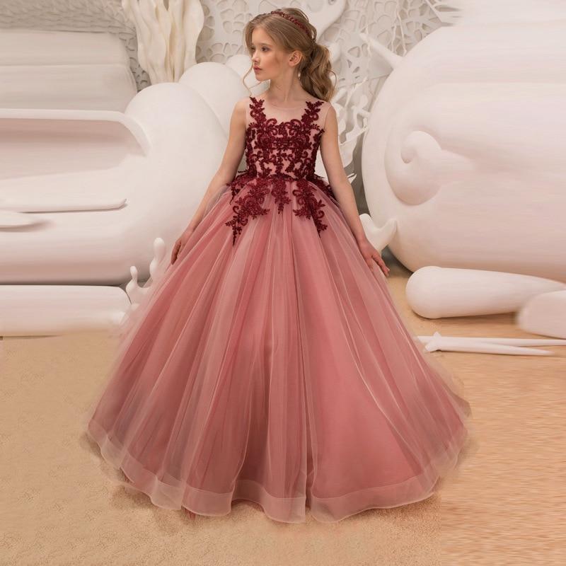 Elegant Girls Dresses 2018 Tule Princess Party Children Wedding Evening Clothing Formal Bridesmaid Teen Dress For Kids Prom Gown