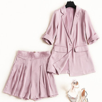 Women solid color pink satin blazer suit one button + shorts 2 piece set high street sexy outfits new 2019 spring summer yellow
