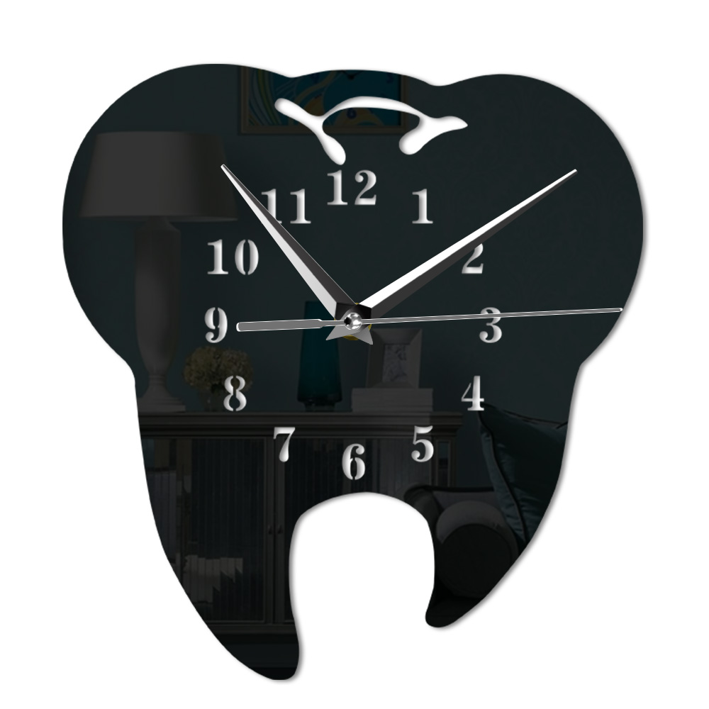 Mirror Effect Tooth Dentistry Wall Clock Laser Cut Decorative Dental Clinic Office Decoration Teeth Care Dental Surgeon Gift image