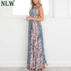 Image 2 - NLW Boho mavi çiçek Maxi elbise Halter yaz elbisesi 2019 kadınlar yüksek bölünmüş Backless seksi uzun elbise plaj partisi Chic kız Vestido