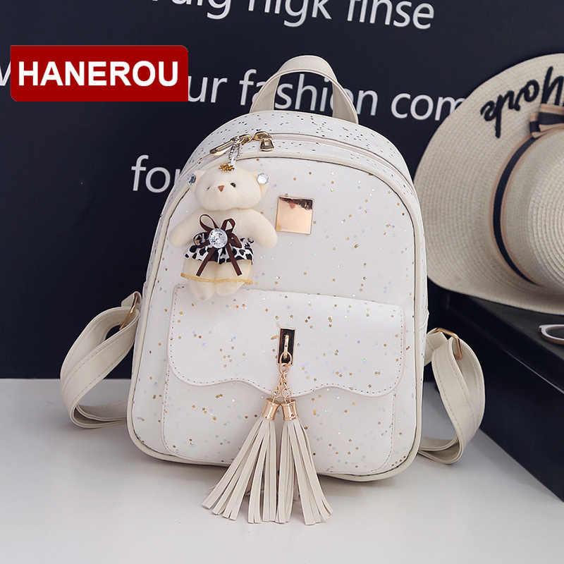 3 комплекта/шт Новый дизайн женский рюкзак с кистями звезды блестки из искусственной кожи рюкзаки для девочек-подростков школьная сумка с цепочкой сумка на плечо