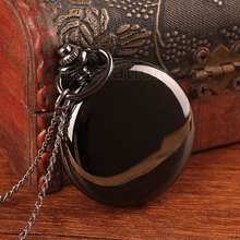Black Round Smooth Steampunk Pocket Watch