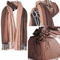 2016 cachecol feminino inverno quente fêmea cor gradiente cachecol moda xale de cashmere longo lenço das mulheres