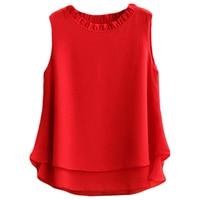 New Womens Tops Fashion 2017 Women Summer 12 Colors Chiffon Blouse Plus Size S 5XL Sleeveless