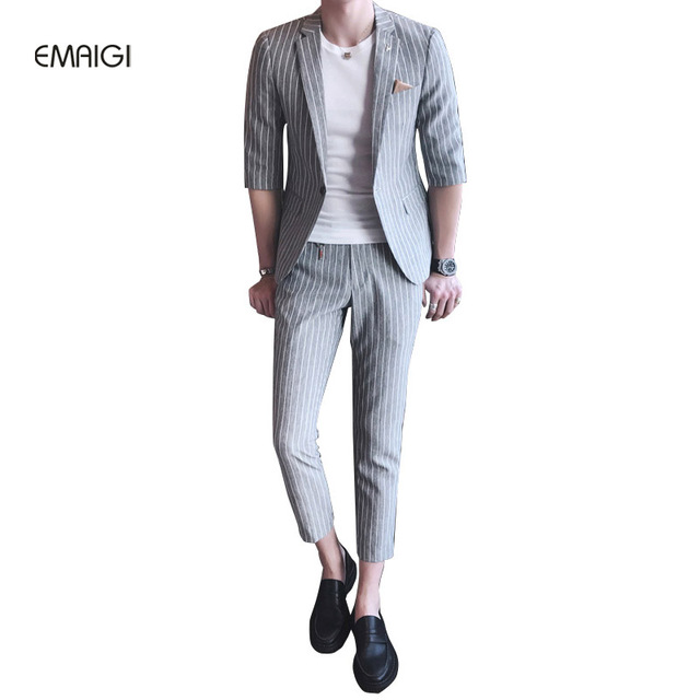 British Man Striped Suit Set (jacket+pant) Male Fashion Slim Fit Half Sleeve Casual Blazer Suit Spring Summer Mens Suits