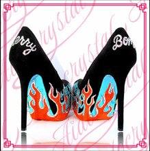 Aidocrystal handgemachten schwarzen kleid schuhe mode-design muster high heels für mädchen freies verschiffen