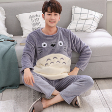 Fashion cartoon Pajamas Set Men's Clothing Winter Coral Fleece Autumn Winter Flannel Thicken warm Sleepwear suit casual Homewear