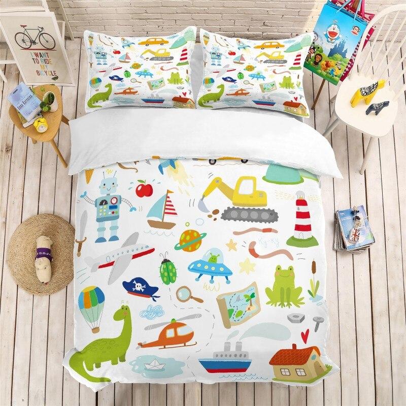 Cartoon Construction Vehicle 3D Printing Bedding Set Duvet Covers Pillowcases Queen King Children Bedding Sets Bedclothes 2019