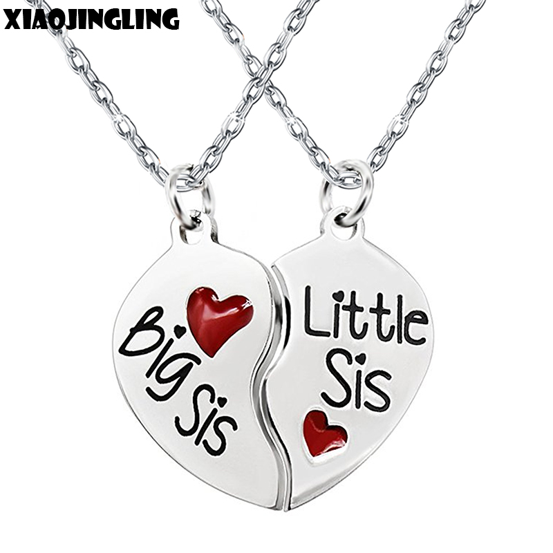 XIAOJINGLING Top Quality Stainless Steel Red Enamel Broken Heart Pendant 2Pcs Big Sis Little Sis Necklace Sisters Jewelry Gifts ...