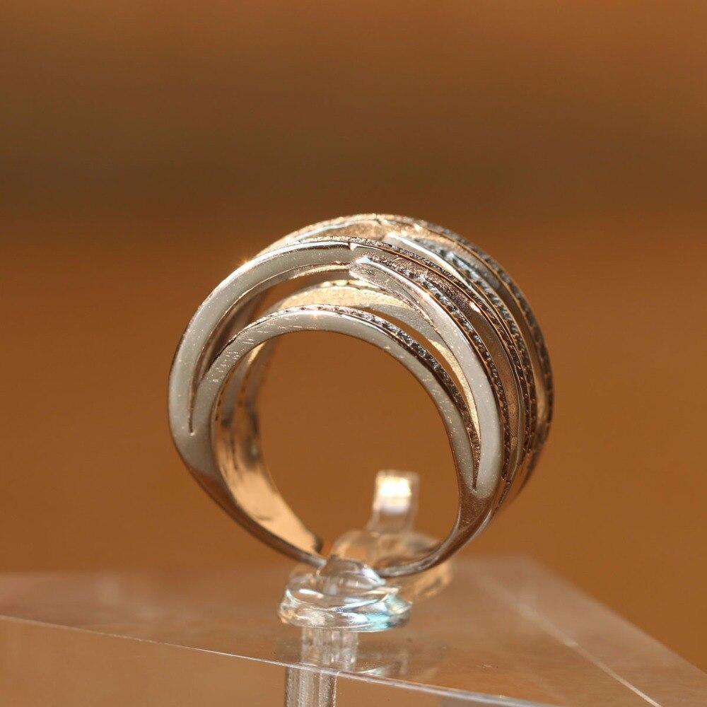 925 argent Sterling Top nouveau Antique mosaïque AAA Zircon cristal multicouche Vintage argent couleur croix Double X anneau femmes doigt R - 4