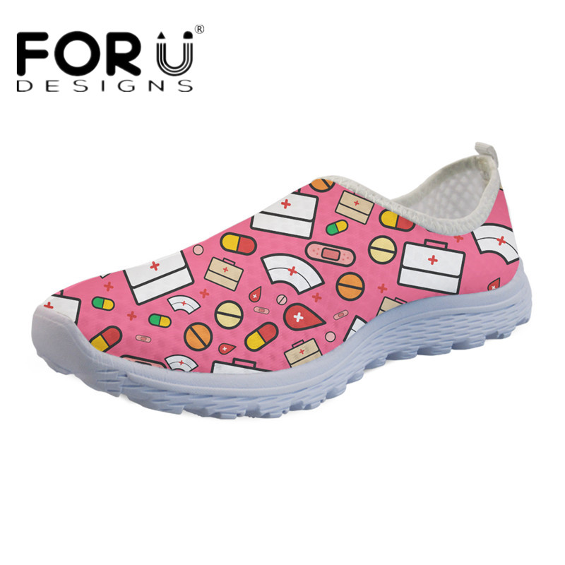 FORUDESIGNS Cute Cartoon Nurse Print Light Weight Flats Women Breathable Mesh Sneakers Ladies Girls Slip-on Beach Water Loafers forudesigns women casual sneaker cartoon cute nurse printed flats fashion women s summer comfortable breathable girls flat shoes