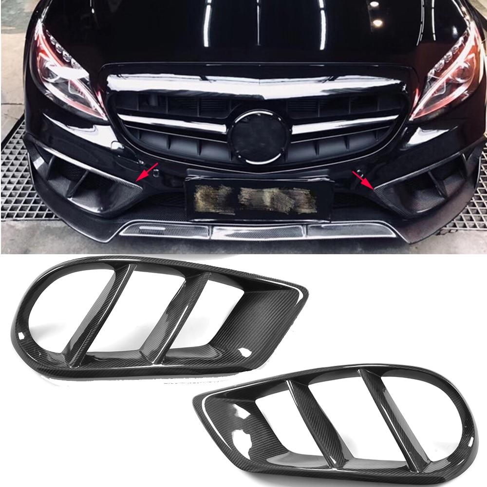 W205 Exterior Carbon Fiber Front Bumper Air Vent Outlet Cover  Grill Trim For Mercedes Benz C43 AMG C180 C200 Sport 2015-2019
