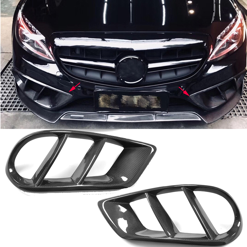 W205 Exterior Carbon Fiber Front Bumper Air Vent Outlet Cover Grill Trim <font><b>for</b></font> <font><b>Mercedes</b></font> Benz C43 AMG C180 <font><b>C200</b></font> Sport 2015-<font><b>2019</b></font> image