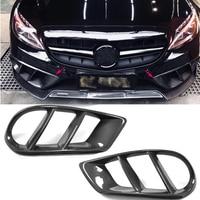 W205 Exterior Carbon Fiber Front Bumper Air Vent Outlet Cover Grill Trim for Mercedes Benz C43 AMG C180 C200 Sport 2015 2019