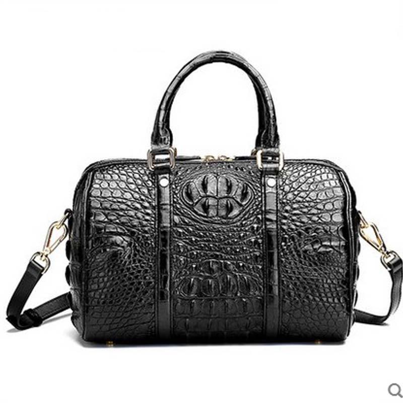 hlt 2017 new Thai crocodile leather handbag female genuine leather goods tide European and American banquet Boston big bag dadi1 dadi hlt 102