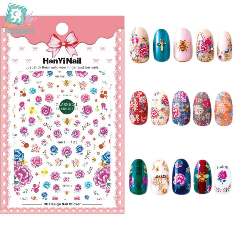 HanYiNail 104-134 2018 New Spring Lucky Cat Fantacy Flowers Nails Art Sticker Harajuku Nail Wrap Sticker Tips Manicura stickers