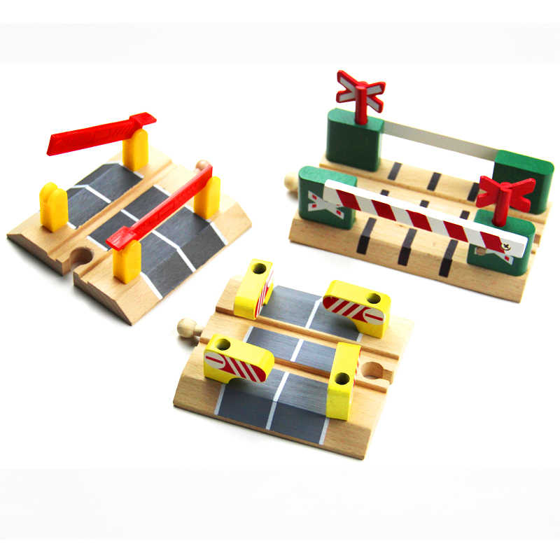 Wooden Railroad Crossing Intersection Roadblock Wooden Train Track Railway Accessories Fit for Brio Trains for Children Kids