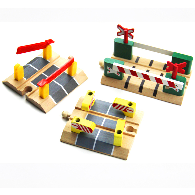 Us 299 Wooden Railroad Crossing Intersection Roadblock Wooden Train Track Railway Accessories Fit For Brio Trains For Children Kids In Diecasts