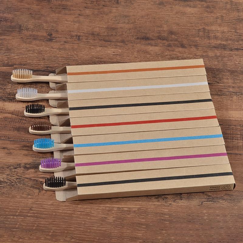 Cepillo de dientes de bambú ecológico cepillo de dientes de madera Punta de cerdas suave carbón para adultos cuidado bucal LOGO cepillo de dientes personalizado 10pc