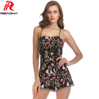 Sexy Spaghetti Strap Summer Bodysuit Women Elegant embroidery Floral beach Nightclub Party jumpsuit 2018 body feminino overalls