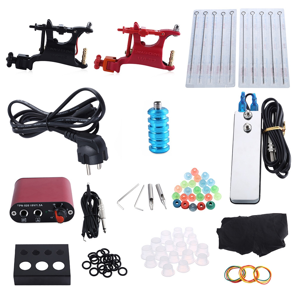 Complete Tattoo Kit Professional 2 Rotary Motor Machine Guns Power Supply Foot Pedal black red yellow blue skull design stainless steel tattoo foot pedal switch footswitch power supply