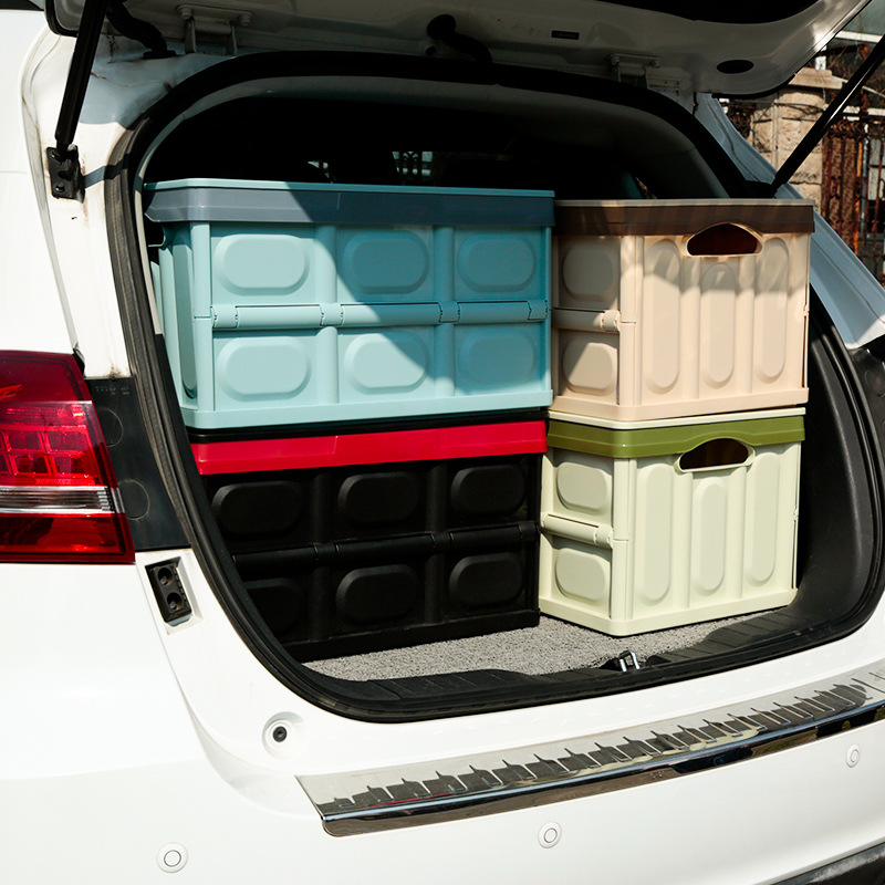 36*53*29cm Car Trunk Storage Box Plastic Storage Box Multi Function Locker Folding and Finishing Box Carriage Plastic Pull Box multi function aluminum plastic storage box silver