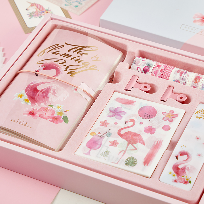 TN Spiral Flamingo Space Bullet Journal Diary Handbook Set Travel Notebook Planner With DIY Sticker Washi Tape Beautiful Agenda