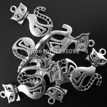 20Pcs Pendants Antique Silver Tone Cute Cats Animal Theme Jewelry DIY Findings Charms 25x16mm 1 x 5/8