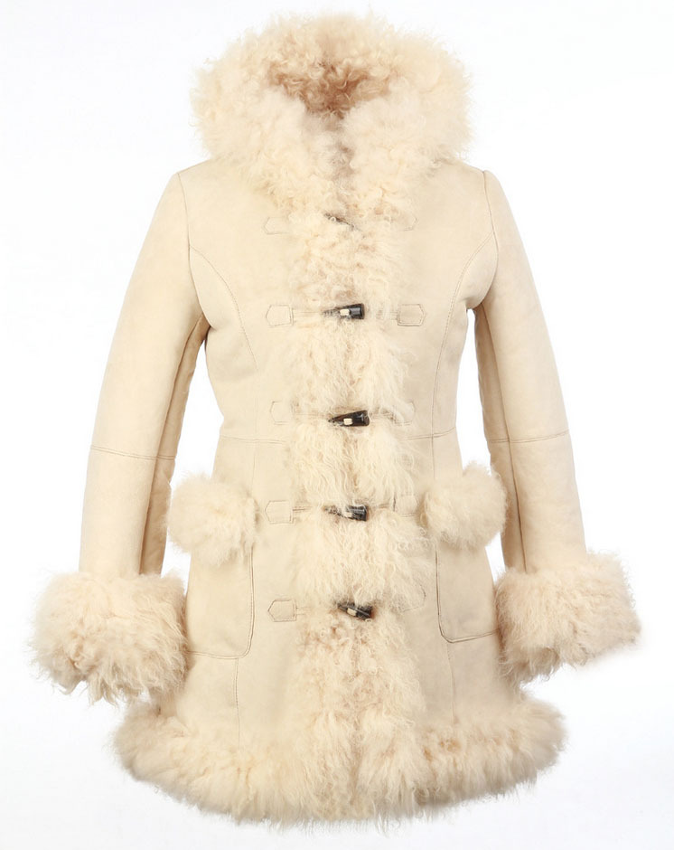 New Genuine Sheepskin Shearling Lamb Fur Coat Women Double faced ...