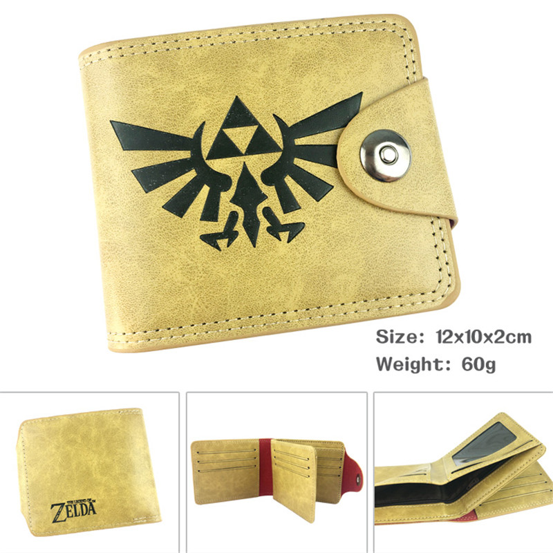 The Legend of Zelda Triforce Wild Breath Cartoon Anime Men Women Boys Girls Short Leather Hasp Button Wallet Purse Money Holder cartoon anime league legends wallets creative gift purse students boy girls leather bags men women fashion casual short wallet