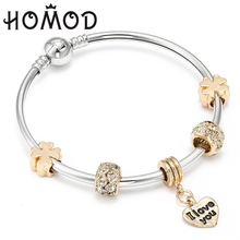 HOMOD Love Heart Charms Bracelet For Women Girls Brand Crystal Bracelets Bangles Female Gold Diy Woman Jewelry