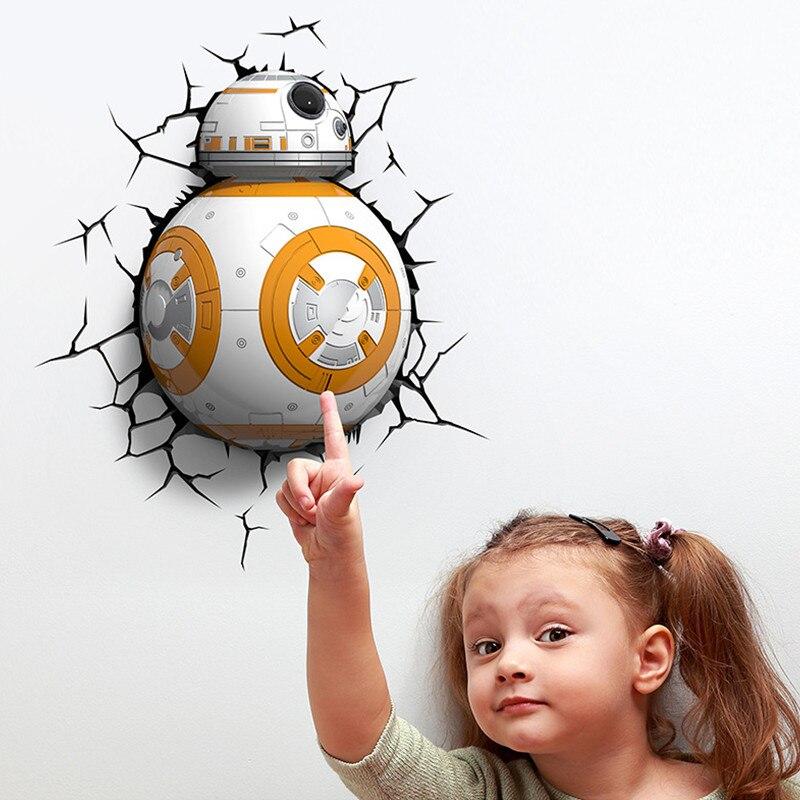 Star Wars: The Force Awakens Tatooine Jango Fett Boba Fett Robot 3D With LED Light BB-8 12 Inches Wall Lamp S582 2018 star wars the force awakens bb 8