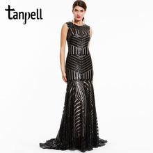 Tanpell sequins long evening dress black scoop sleeveless floor length dresses cheap mermaid zipper up formal party evening gown