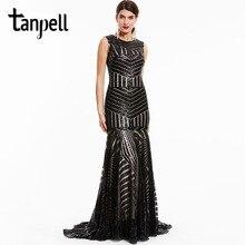 Tanpell sequins long evening dress black scoop sleeveless floor length dresses cheap mermaid zipper up formal party evening gown