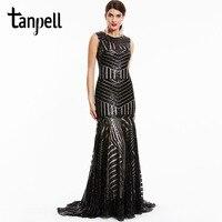 Tanpell Sequins Long Evening Dress Black Scoop Sleeveless Floor Length Dresses Cheap Mermaid Zipper Up Formal